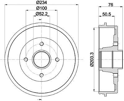 Bremstrommel Hinterachse Hella 8DT 355 301-401