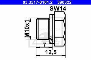 Verschlussschraube, Hauptbremszylinder ATE 03.3517-0101.2