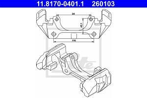 Halter, Bremssattel Vorderachse ATE 11.8170-0401.1
