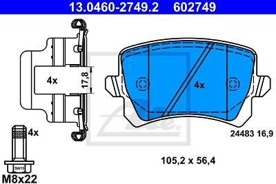 Bremsbelagsatz, Scheibenbremse Hinterachse ATE 13.0460-2749.2