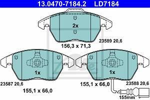 Bremsbelagsatz, Scheibenbremse Vorderachse ATE 13.0470-7184.2