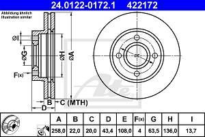 Bremsscheibe Vorderachse ATE 24.0122-0172.1