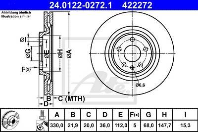 Bremsscheibe Hinterachse ATE 24.0122-0272.1