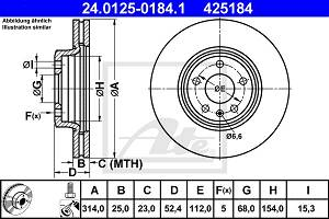 Bremsscheibe Vorderachse ATE 24.0125-0184.1