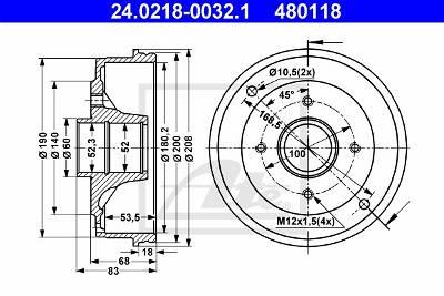 Bremstrommel Hinterachse ATE 24.0218-0032.1